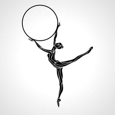 Rhythmic Gymnastics Girl with Hoop Silhouette vector Vettoriali