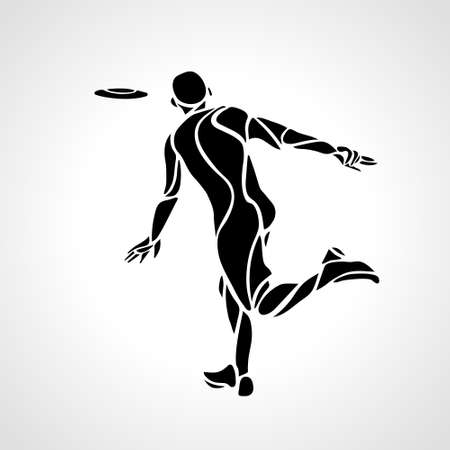 Athlete throwing flying disc . Playing flying disc . Vector illustration