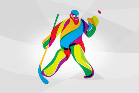 Hockey player goalkeeper abstract color silhouette