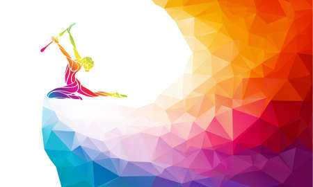 Creative silhouette of gymnastic girl. Rhythmic gymnastics with clubs, colorful vector illustration with background or banner template in trendy abstract colorful polygon style and rainbow back Çizim
