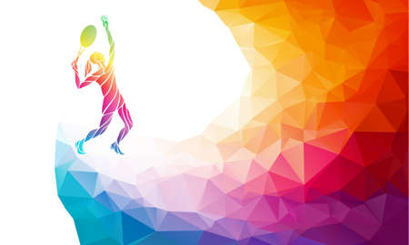 Creative silhouette of female tennis player receiving a ball. Racquet sport, colorful vector illustration with background or banner template in trendy abstract colorful polygon style and rainbow back