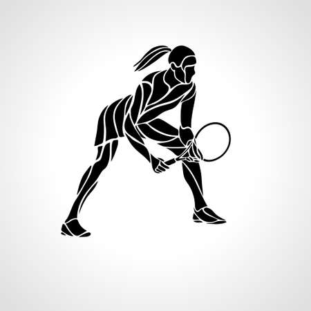 Female lady tennis player stylized vector silhouette, emblem or logo template. Racket sport logotype. Abstract illustration Çizim