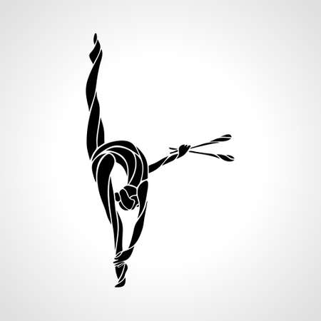 Silhouette of art rhythmic gymnastic girl with clubs