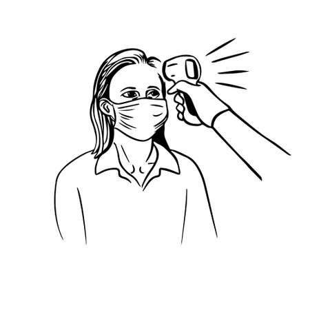 Woman is being checked for body temperature with a thermometer infrared vector illustration Çizim