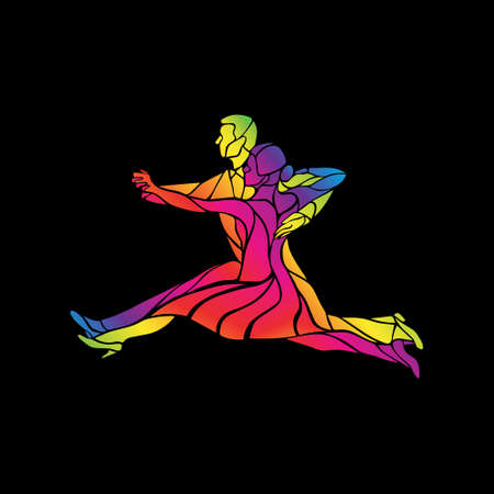 Silhouettes of couple dancing ballroom dance. Quickstep. Multicolored detailed vector silhouette of ballroom dancers.