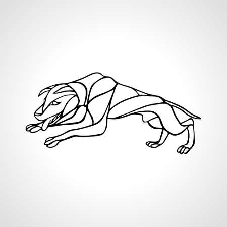 Fighting dog pit bull terrier dog or canine wavy outline vector Stok Fotoğraf - 155444437