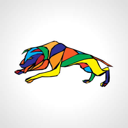 Fighting dog pit bull terrier dog or canine geometric color vector Çizim