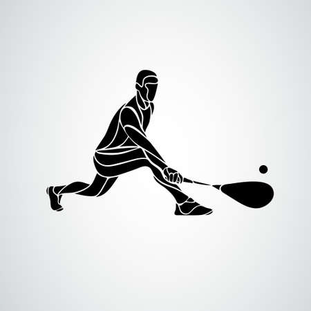 Squash player creative abstract silhouette vector