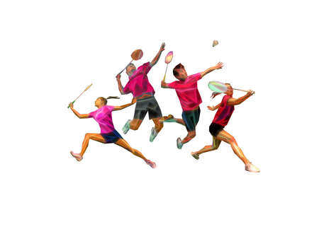 Sports poster with badminton players team invitation