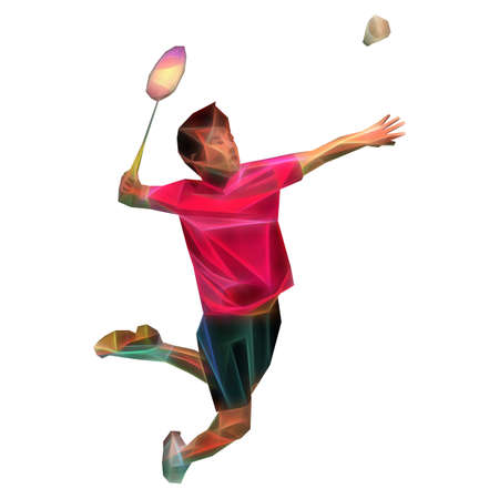 Polygonal professional badminton player on colorful low poly background doing smash shot on white background Foto de archivo