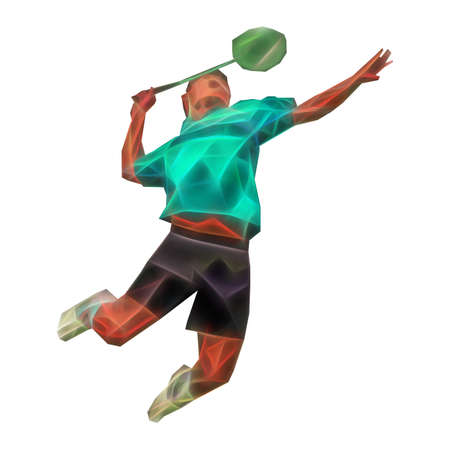 Polygonal professional badminton player on colorful low poly background doing smash shot isolated on white background Foto de archivo