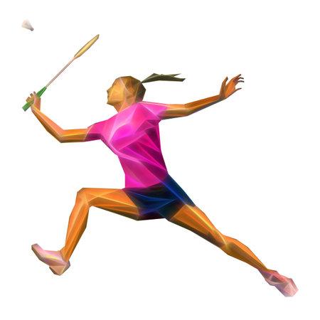 Geometric polygonal professional female badminton player isolated on white background
