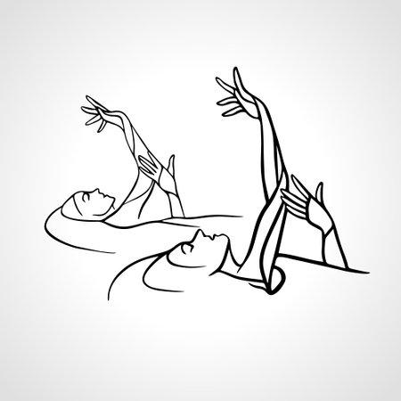 Synchronized swimming. Sport team line art vector illustration Vectores