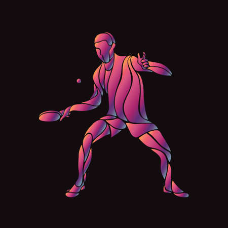 Table tennis sport abstract colorful player vector