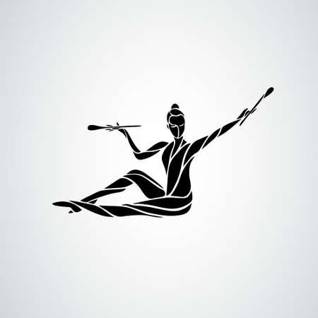 Silhouette of art rhythmic gymnastic girl with clubs