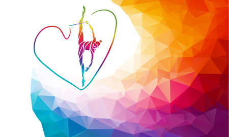 Silhouette of spectrum color gymnastic girl with ribbon Vectores