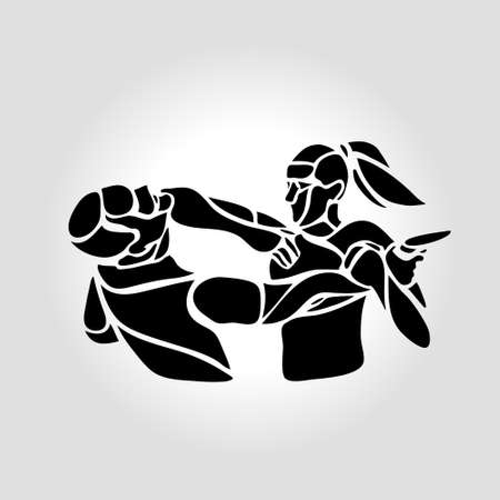 Woman self defense practice. Krav Maga sparring vector eps