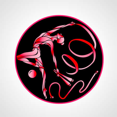 gymnastic girl in a circle with hoop, clubs, a ribbon, skipping rope and a ball Vectores