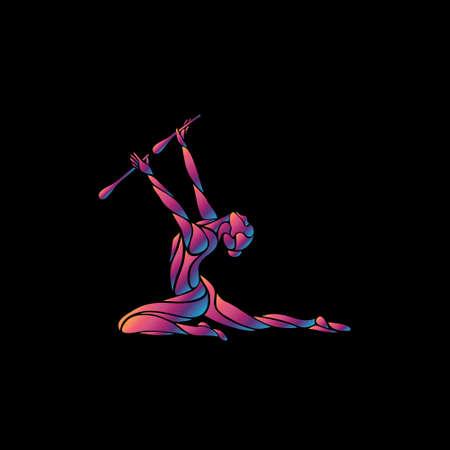Creative silhouette of gymnastic girl. Art gymnastics flexible girl