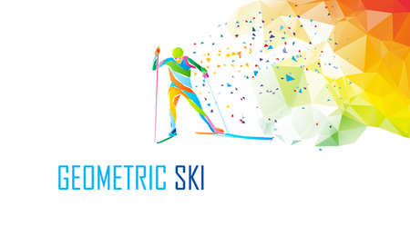 Cross country Ski Racer silhouette. Color illustration vector Vektorgrafik