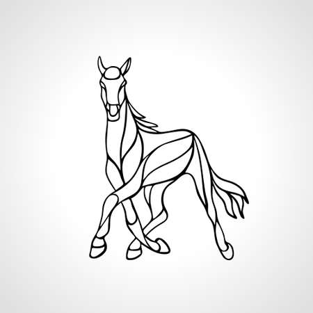 Vector Running Horse Abstract Silhouette eps10 clipart
