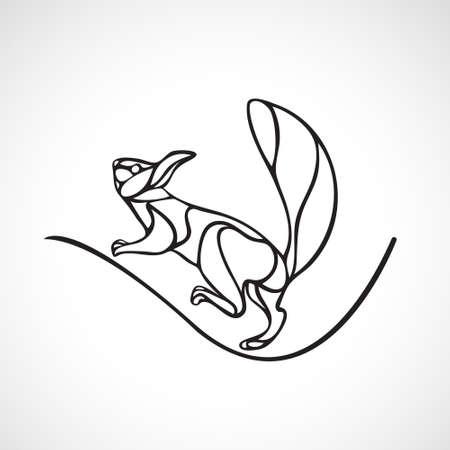 Abstract illustration of squirrel. Outline wavy squirrel vector Vectores