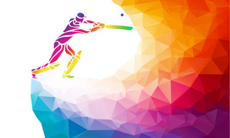Abstract cricket player vector multi color bright illustration