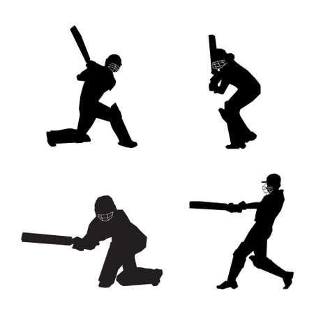 Cricket player batsman batting silhouettes collection set