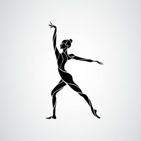 Creative silhouette of gymnastic girl. Art gymnastics dancing woman, vector illustration