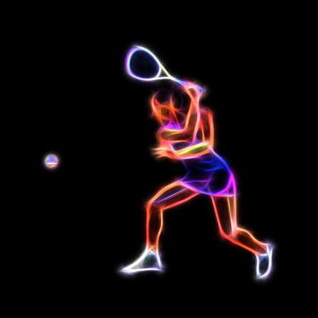 Female Squash Player Neon Glow Illustration Clipart Foto de archivo