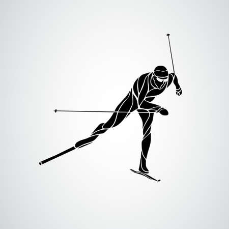 Cross country skiing. Creative silhouette of the skier. Vector