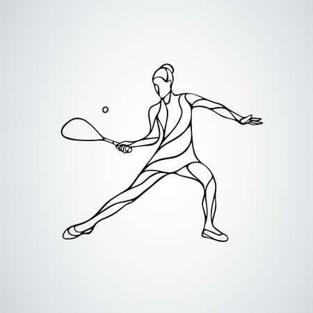 Squash player female abstract outline silhouette vector