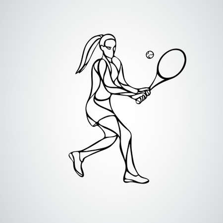 Tennis player female stylized outline vector silhouette