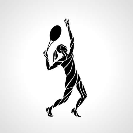 Tennis player female stylized abstract vector silhouette Vectores