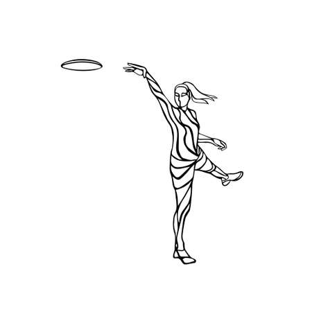 Female player is throwing flying disc. Disc golf clipart