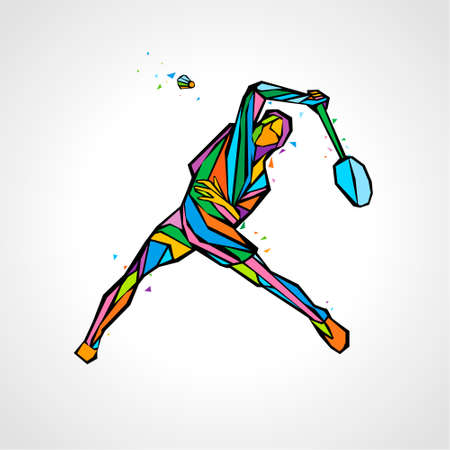 Badminton player abstract vector illustration clipart