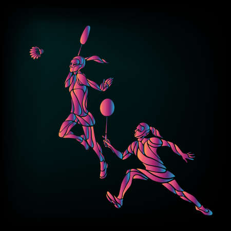 Womens doubles badminton players. Color vector illustration Vectores