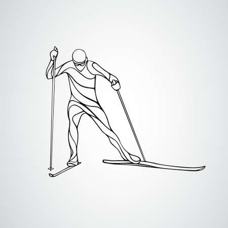 Silhouette of cross-country skiing. Geometric skier vector