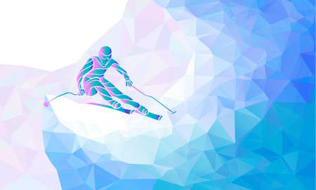 Ski Racer silhouette. Color illustration geometric