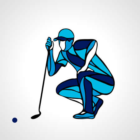 Creative abstract silhouette of golf player. Vector