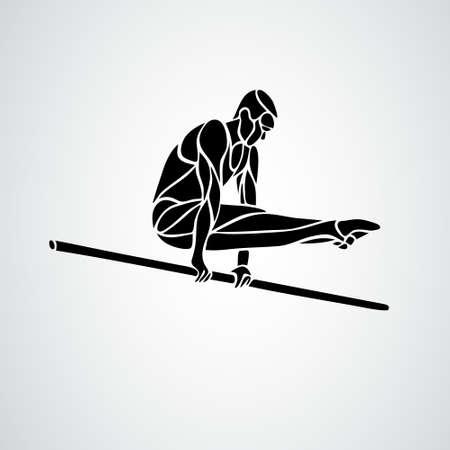 Man s Artistic Gymnastics Silhouette on White Background Ilustração