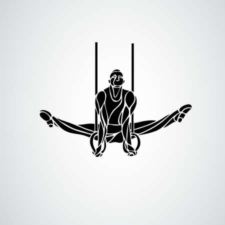 Gymnastics Rings Silhouette on white background vector