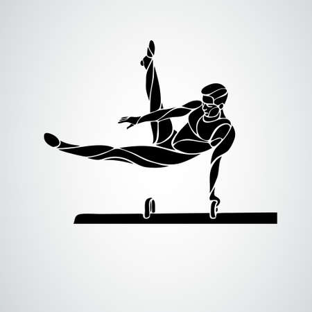Gymnastics with man at pommel horse vector clipart