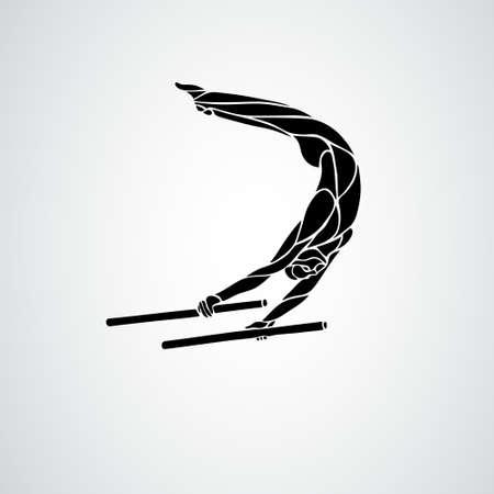 Parallel Bars Gymnastics Vector Illustration Silhouette Ilustração