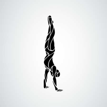 Male gymnast in artistic gymnastics vector silhouette