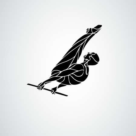 Horizontal bar male gymnast in artistic gymnastics vector