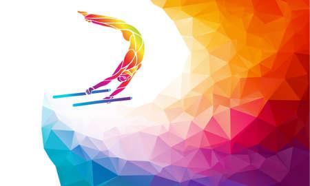 Parallel bars male gymnast in artistic gymnastics vector Ilustração