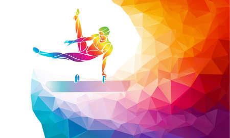 Pommel horse male gymnast in artistic gymnastics vector Ilustração
