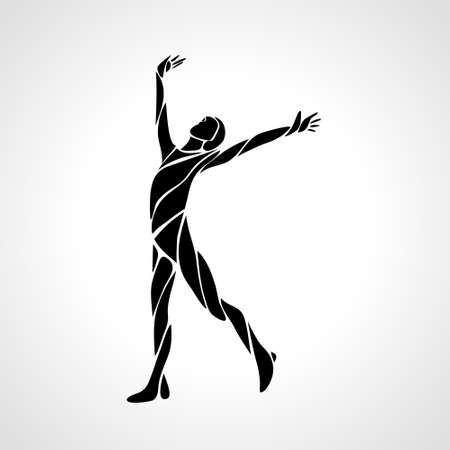 Healthy Life Logo Arm raised silhouette vector illustration