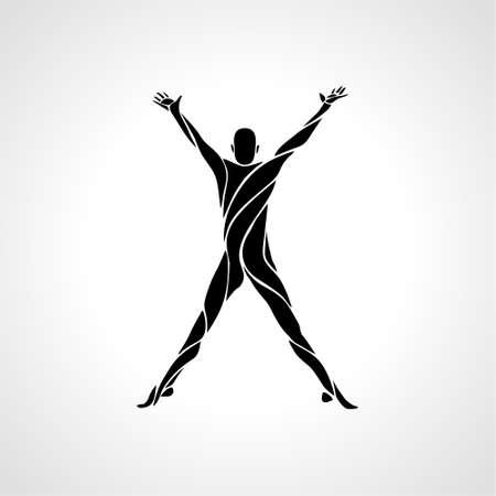 Healthy Life Logo Arm raised man silhouette illustration